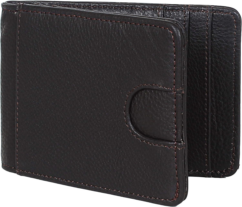 Rustic Town Handcrafted Leather Wallets for Men - RFID Blocking Bifold Men's Wallet - Slim Wallet for Front Pocket (Black)