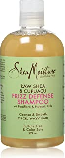 Shea Moisture Raw Shea & Cupuacu Frizz Defense Shampoo, with Passiflora and Pistachio Oils, to Cleanse and Smooth Thick, W...