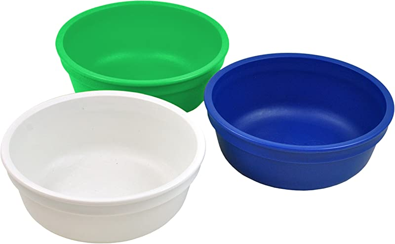 Re Play Made In The USA 3pk Bowls For Easy Baby Toddler And Child Feeding White Kelly Green Navy Blue Nautical