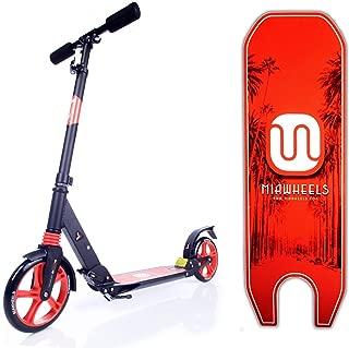 MIAWHEELS Adjustable & Foldable + Suspension+ Strap+Reflective+ Long Rear Brake, Aluminium Kick Scooter