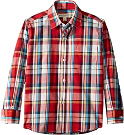 34ce8b4e152e Lacoste kids long sleeve poplin blue and red check shirt little kids ...