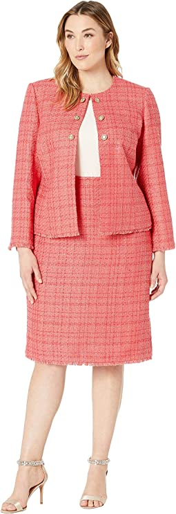 Plus Size Boucle Skirt Suit with Gold Finish Trim