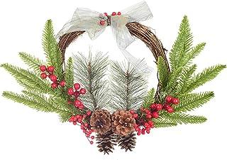 YQing 30.5cm Corona de Navidad, Artificiales Bayas Rojas Navidad Decoracion Coronas de Navidad Guirnaldas de Pino Decoracion para Puerta Navidad Vacaciones Decoración del Hogar