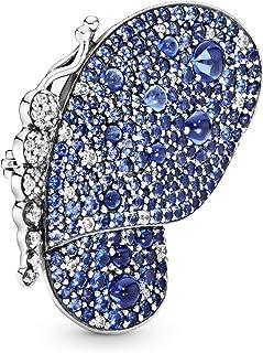 بروش فضة استرليني 925 شكل فراشة للنساء من باندورا - فضي وازرق