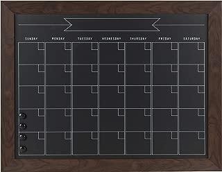 DesignOvation Beatrice Framed Magnetic Chalkboard Monthly Calendar, 23x29, Walnut Brown