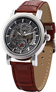AMPM24 Fashion Men's Skeleton Automatic Mechanical Date Brown Leather Wrist Watch PMW044