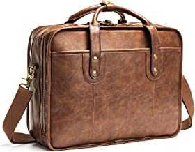 Leather Briefcases for Men 15.6 Inch Business Computer Bag Laptop Bag for Men Water Resistance Vintage Large CapacityTrav...