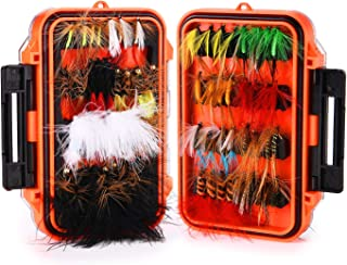 Magreel Fly Fishing Flies Kit with Box, Dry Wet Flies, Nymphs, Streamers for Bass Salmon Trout Fishing 120Pcs/64Pcs