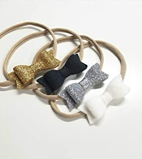 baby girl headbands Gold and Silver hair bows sparkly
