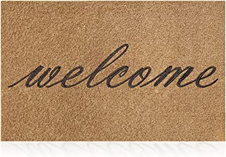 Welcome Mats Outdoor Doormat with Natural Rubber Backing,Non Slip Door Mats for Outside Entry Absorb Mud Easy Clean Entran...