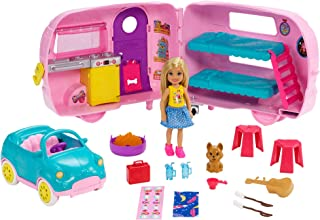Barbie Club Chelsea Camper Playset with Chelsea Doll, Puppy, Car, Camper, Firepit, Guitar and 10 Accessories, Gift for 3 t...