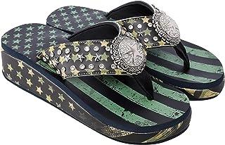 Montana West Flip Flops for Women Western Aztec Concho Patriotic Wedge Sandals