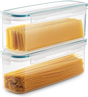 Komax Biokips Set of 2 Pasta Storage Containers | 77.8-oz Rectangular Pasta Containers | Airtight Spaghetti Container Storage With Locking Lids | BPA-Free Pasta Canister Set | Dishwasher Safe