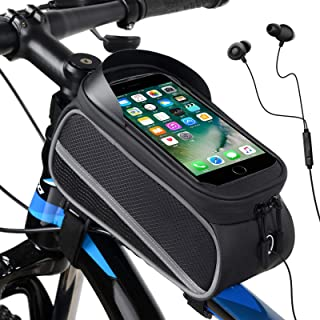 Sponsored Ad - None Branded Bike Bag Bicycle Front Frame Mount Pack Cellphone Holder with Touch Screen & Sun Visor for Ear...