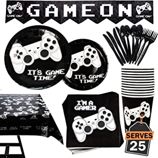 177 Piece Video Gaming Party Supplies Set Including Banner, Plates, Cups, Napkins, Tablecloth, Spoon, Forks, and Knives, Serves 25