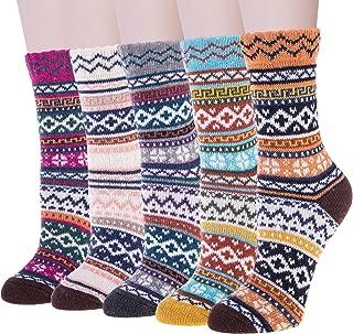 5 Pairs Merino Womens Winter Warm Knit Wool Casual Crew Socks