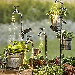 Fragarn Star Shower Garden Art Light Decor Solar Water Faucet and Plant Pot Lights Outdoor Decoration Stainless Waterproof...
