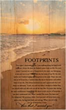 P. Graham Dunn Footprints in The Sand Beach Scene 24 x 14 Wood Pallet Design Wall Art Sign Plaque