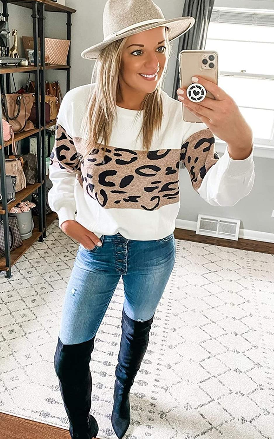 Angashion Women's Leopard Sweaters Casual Long Sleeve Crewneck Color Block Patchwork Pullover Knit Sweater Tops