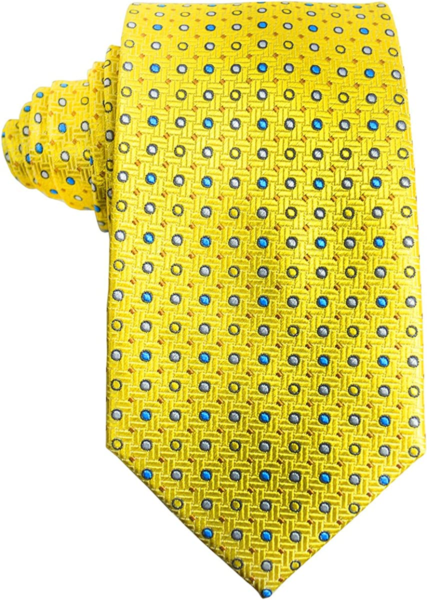 Yellow Polka Dots Paul Malone Silk Tie and Pocket Square