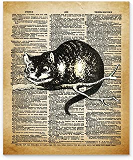 Alice in Wonderland Cheshire Cat Wall Art, 11x14 Un Framed Decor Print On Upcycled Vintage Style Dictionary Page. Ideal for Book Lovers, English Teachers, Librarians and Lewis Carroll Fans