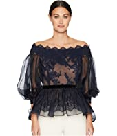 Marchesa - Off the Shoulder Lace Fit and Flare Blouse w/ Statemented Bow Sleeves
