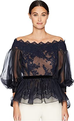 Off the Shoulder Lace Fit and Flare Blouse w/ Statemented Bow Sleeves