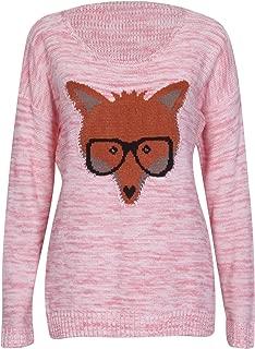 Purple Hanger Women's Fox Glasses Pullover Sweater Jumper Top Coral 8-10