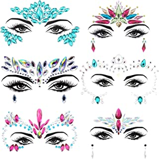 6 Set Face Gems, Rhinestone Mermaid Face Jewels Stickers Face Glitter Eyes Face Body Temporary Tattoos, Crystal Tears Face Stickers Decorations Fit for Masquerade Festival Party