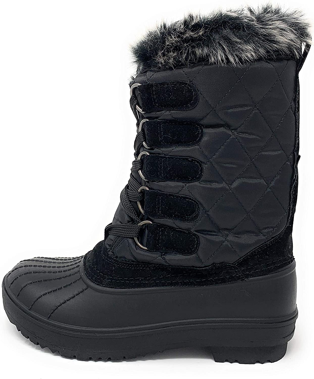 Wild Diva Womens Round Toe Faux Fur Lined Lace Up Mid-Calf Duck