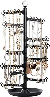 All Hung Up 12-Tier ~ Extra Capacity ~ Earrings (110+ Pairs) Necklaces Rings Bracelets ~ Display Everything ~ Tabletop Jewelry Organizer Holder Stand Tower Travel Tree Rack with Dish/Tray - Black