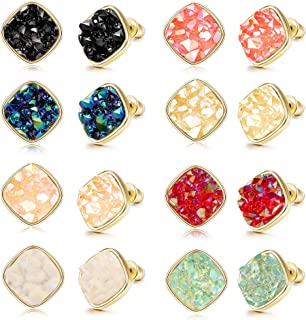 8 Pairs Resin Square Faux Druzy Stone Stud Earrings Set for Women Men Gold Plated Fashion Earrings Jewelry 10MM