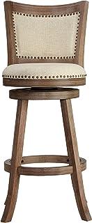 "Cortesi Home Padded Back Marko Bar Stool Beige Fabric Swivel Seat, 30"", Driftwood"