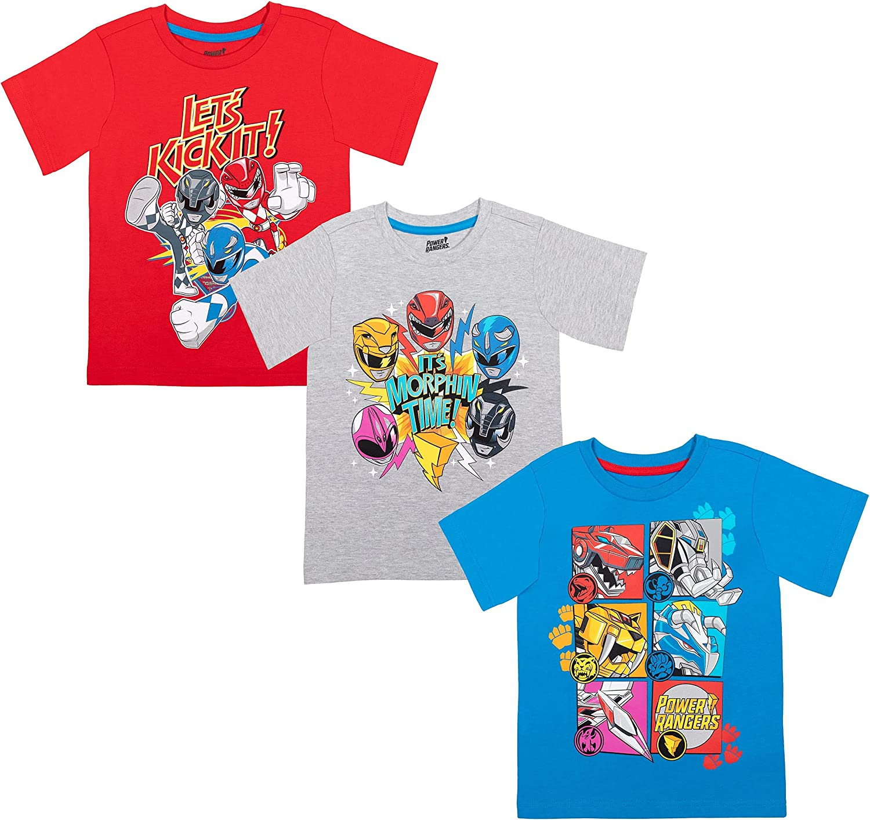 Power Rangers 3 Pack Short Sleeve T-Shirt Blue/Gray/Red
