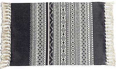 Bohemian Cotton Area Rug 2' x 3' for Bedroom, Hand Woven Fringe Throw Rug, Geometric Print Tassels Door Mat, Farmhouse Decorative Runner for Kitchen, Bathroom, Living Room, Porch (Grey Diamond)