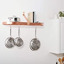 Old Dutch Wall-Mount Pot Rack with Grid & 12 Hooks, Satin Copper, 36