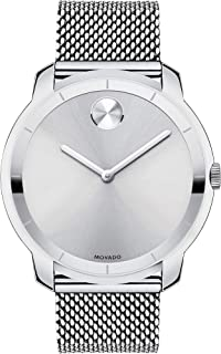 Movado Mens BOLD Thin Stainless Steel Watch with a Printed Index Dial, Silver (Model