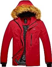 Wantdo Men's Mountain Jacket Fleece Lined Winter Coat Windproof Faux Fur Collar
