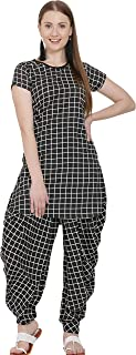 USA Fantasy Women Checkered Black Top & Dhoti Pant Set
