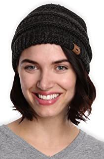 Womens Beanie Winter Hat - Warm Chunky Cable Knit Hats - Soft Stretch Thick Cute Knitted Cap for...
