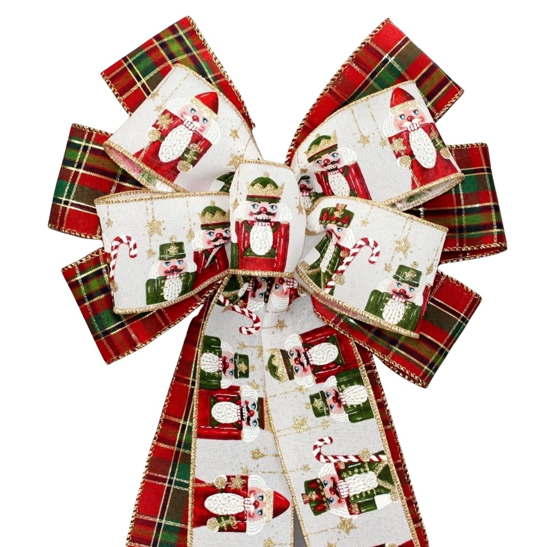 Special Campaign Nutcracker Tartan Plaid quality assurance Christmas Wreath Bow