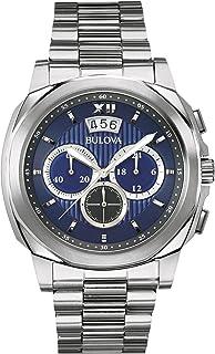 Bulova - Classic Vestido Hombre Reloj de Cuarzo con Esfera Analógica Azul Pantalla y Plata Pulsera de Acero Inoxidable 96B219