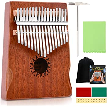 Donner 17 Key Kalimba Thumb Piano Solid Mahogany Body Finger Piano Easy to Learn Mbira Instrument Gift for Kids Adult Beginners Professional DKL-17