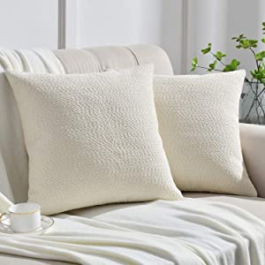 Rythome Set of 2 Cozy Fine Textured Throw Pillow Covers, Decorative Elegant Accent Pillow Cases for Couch Bed and Living Room - 18