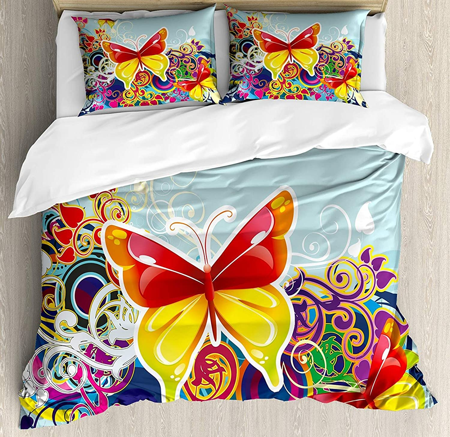 colorful Bedding Set King Size, Butterflies and Floral Ornamanets Fantasy Design colorful Vibrant Wings Artwork,Comforter Cover Sets for All Season, Multicolor