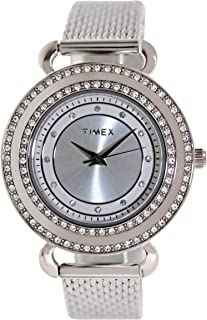 Timex Women's Classics T2P231 Silver Stainless-Steel Analog Quartz Watch with Silver Dial
