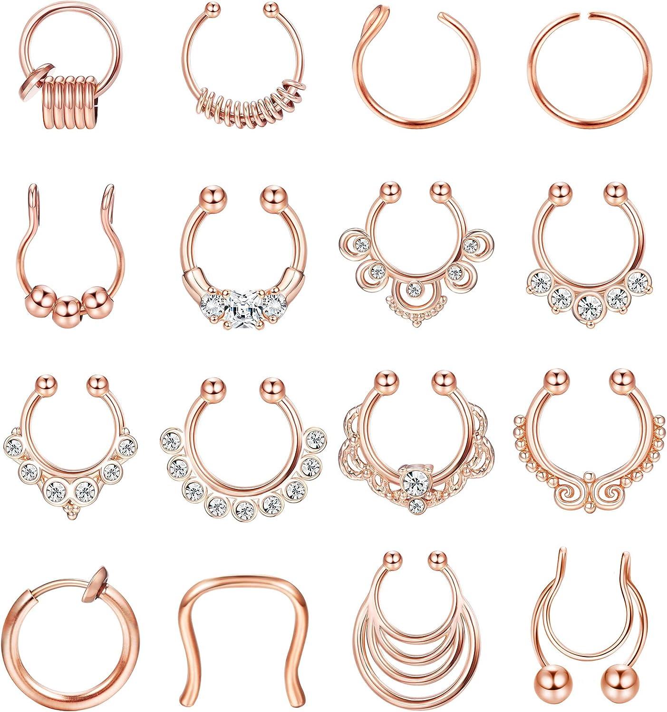 BodyBonita 16pcs Fake Septum Nose Hoop Rings Stainless Steel Faux Lip Ear Nose Septum Ring Clicker Hanger Non Piercing Clip On Nose Hoop Rings Body Piercing Jewelry