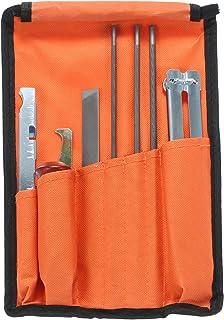 mewmewcat Conjunto de peças de corrente de afiador de motosserra, limas de 5/32, 3/16 e 7/32 polegadas, cabo de madeira, m...