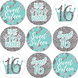 Blue and Silver 16th Birthday - Sweet Sixteen Party Favor Stickers, 180 Count