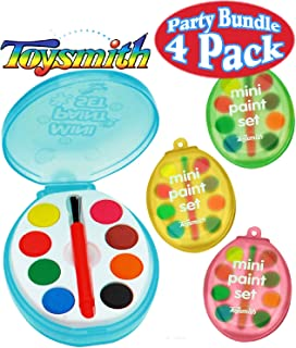 Toysmith Mini Watercolor Paint Sets Blue, Pink, Green & Yellow Gift Set Party Bundle - 4 Pack